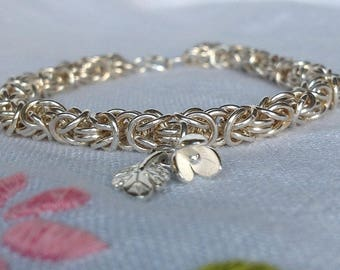 Sterling Silver Byzantine Chain Maille Charm Bracelet