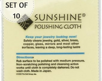 "10 Sunshine Polishing Cloths, 7 1/2"" X 5"", Non-Scratch, Jewelry Cleaner, Tarnish Remover, for Gold, Sterling Silver, Brass and Coppe"