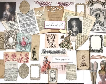 Marie Antoinette Themed French Paris Journalling Kit - 50 Vintage French Book Pages, Inspiration Kit , Card making , Scrapbooking , Collage