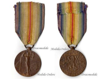 Czechoslovakia WW1 Military Medal Victory Interallied 1914 1818 Czech Decoration Great War WWi Commemorative Entente Angel Official Type 2
