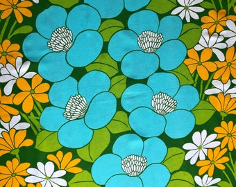 Scandinavian vintage curtains floral print 60s mid century modern curtains. Floral mod print. Turquoise green yellow Vintage panels