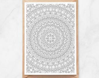Gems Mandala Postcard, Adult Coloring Postcard, Coloring Mandala Postcard, Mandala Coloring Postcard, Pattern Postcard, Diamonds Mandala
