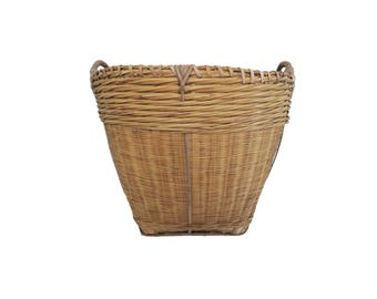Vintage Large Round Woven Basket With Double Handles
