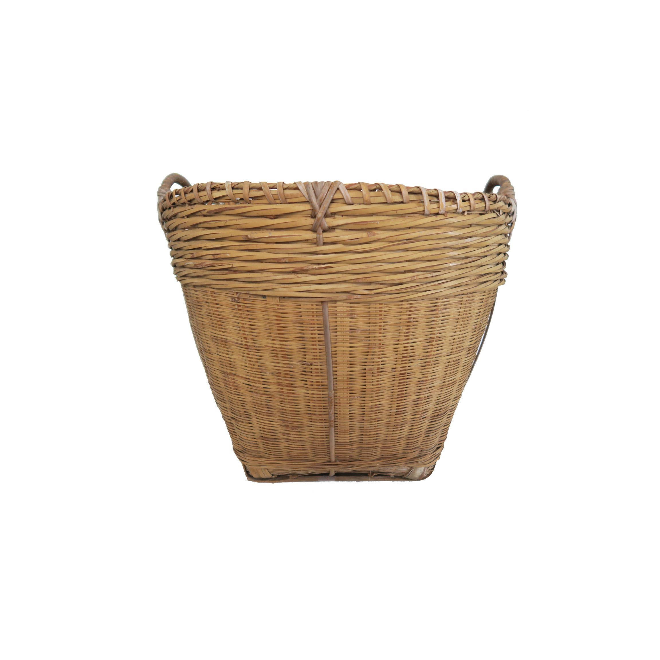 Large Round Wicker Baskets With Handle : Vintage large round woven basket with double handles