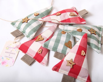 Red and Green Gingham Christmas Tree Garland Decoration