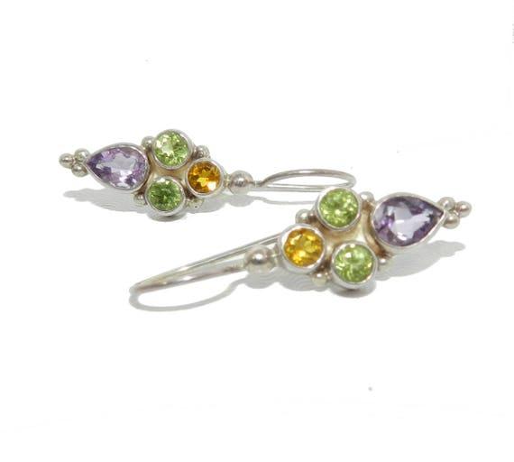 925 Sterling Silver Jewelry Amethyst Stone Dangle Earring Fashion Jewellery