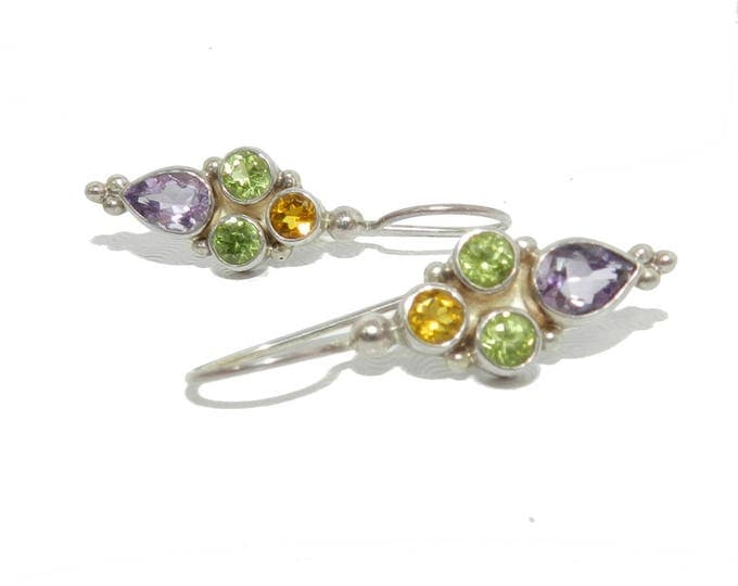 Vintage 925 sterling silver amethyst peridot citrine dangle drop earrings fashion minimalist gift for her jewelry jewellery