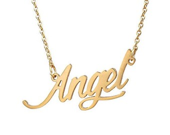 Personalized  initial necklace , name necklace , Monogram Necklace , Letter Necklace , Angel