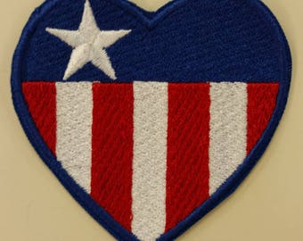 Embroidered Heart Flag Patch, Iron On America Patch, Embroidered USA Heart, Stars and Stripes Heart Patch