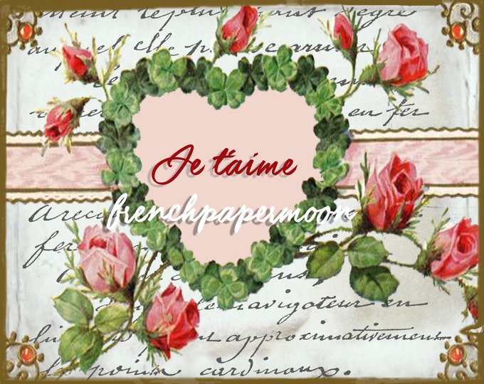 Shabby French Valentine Digital, Roses, French Typography, Love, Jetaime, Valentine Pillow, Large Image Graphic Transfer