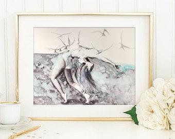 Ballerina watercolor art print. Wall art, wall decor, digital print. Lost & Found