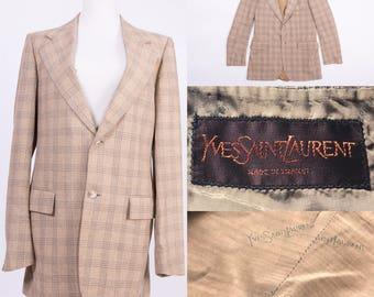 YVES SAINT LAURENT Beige Plaid Print Jacket / Blazer / Coat
