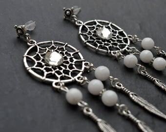 "Earrings ""dream catcher"" white agates, Swarovski crystals"