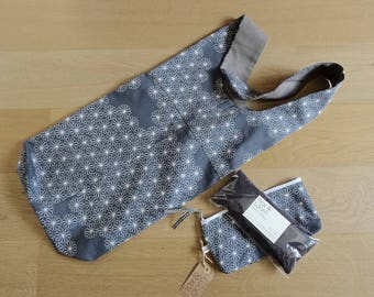 Set of Grey Floral Exercise Mat Bag Organic Lavender and Flaxseed Eye Pillow and Storage Case
