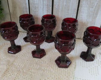 Vintage Ruby Glass Goblets Avon - Red Glass Goblets Cape Cod - Set of 7 - Glassware Stemware