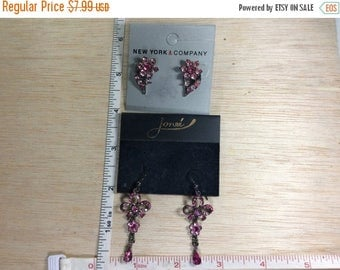 10% OFF 3 day sale Vintage Lot 2 Earrings Pink Rhinestone Carded Used