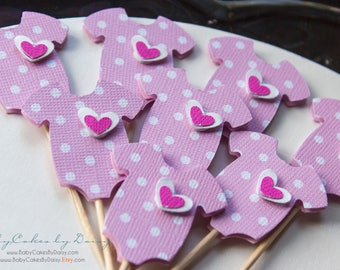Onesie Baby Shower Cupcake Toppers - Cupcake Toppers - Baby Girl - Its a Girl - Pink Polka Dot - Pink Onesie with Layered Heart - 12pc.