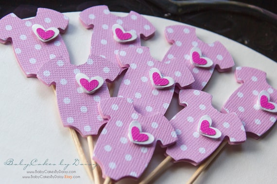 Baby Shower Cupcake Toppers 12 Pcs - Onesie 3 Dimensional Toppers - Baby Girl Pink Polka Dot Cupcake Topper - Pink Onesie with Layered Heart