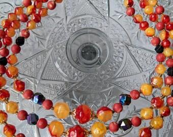 Hong Kong Beaded Necklace, Orange Plastic Beads