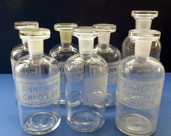 Set of SIX Vintage 1920s Clear Glass Chemist Bottles & One Larger One. Each with Etched Contents Label and Matching Original Stoppers