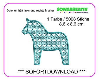 Embroidery File Dala horse 8.6 x 8.6 cm-Instant download
