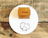 Vintage Wooden Turkey Stamp / Old Vintage Wood Handled Stamp / Thanksgiving Stamp / Thanksgiving Crafts / Farmhouse Thanksgiving