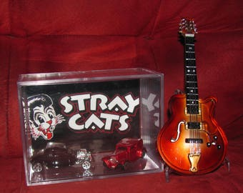 """The Stray Cats """"HotRod"""" Guitar Collectible display!! Clean,ready to ship,great addition to Cat Collection"""