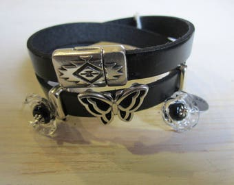 Leather Bracelet two laps, 10 mm black leather, artisan made Lampwork flowers