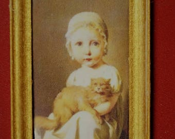 Dollhouse Miniature Print: Gabrielle Arnault--Girl with Cat