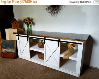 ON SALE Buffet Table, Rustic Barn Door, Entertainment Stand, TV stand, media stand/sliding doors, barn doors, entertainment center, buffet s