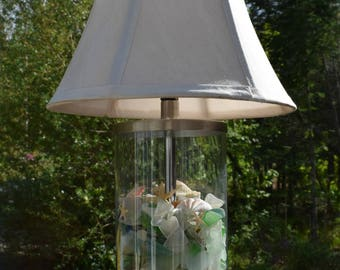 Maine Made Seaglass Lamp with Shells and Starfish - Made to Order