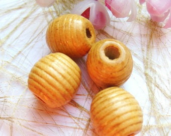 set of 4 olive wood beads