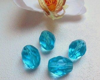 set of 4 olive beads a blue Czech glass fire polished