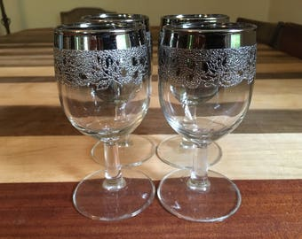 Set of 4 Vintage Silver Ombre Embossed Wine Glasses, Queens Lusterware, Silver Fade, Dorothy Thorpe Style, Stemware, Mid Century Mod