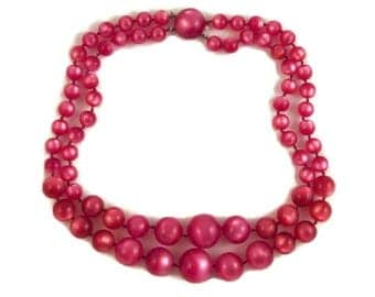 Fuchsia Moonglow Lucite Beads Necklace Double Strand Vintage Graduated Mid Century