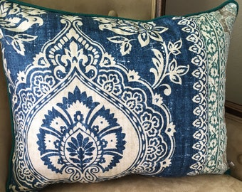 Blue Gray Pillow Cover 16 x 20 inch Pillow Cover Blue Teal Pillow Cover Lumbar Pillow Cover Long Pillow Cover Navy Blue Pillow Cover