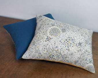Liberty and storm blue linen cushion