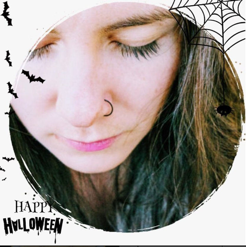 Get the bestcolor nose hoop tocomplete your perfect Halloween costume. Black, Pink, Purple, Gold, Silver, Copper, Bronze.
