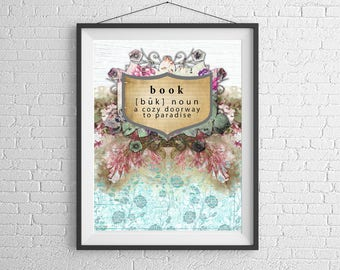 Cute Shabby Chic Book Definition Quote Digital PRINTABLE Art Print