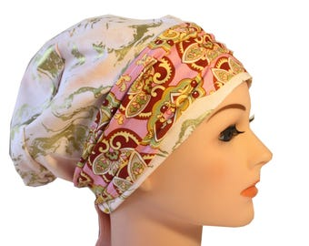 Scrub Hat Cap Chemo Bad Hair Day Hat  European BOHO Banded Pixie Tie Back Pink Gold Marble Multi Band  2nd Item Ships FREE