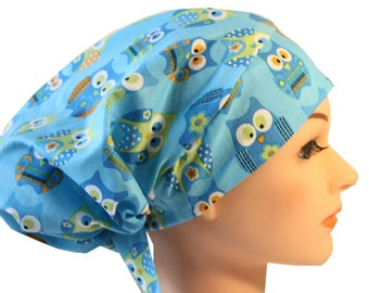 Scrub Hat Cap Chemo Bad Hair Day Hat  European BOHO Blue Owl 2nd Item Ships FREE
