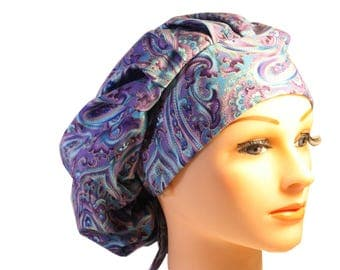 Medical Scrub Cap Surgical Hat Tie Back Bouffant Purple Blue Paisley 2nd Item Ships FREE
