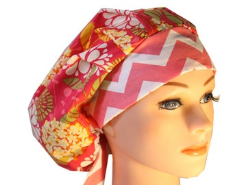 Scrub Cap Surgical Hat Chef   Dentist Hat Tie Back Bouffant Pink Orange  Floral Chevron 2nd Item Ships FREE