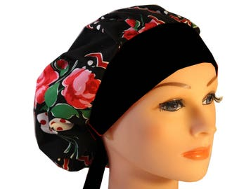 Scrub Cap Surgical Hat Chef   Dentist Hat Tie Back Bouffant Roses are Red Black Band 2nd Item Ships FREE