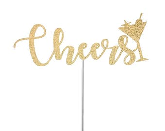 Cheers Cake Topper - Gold Glitter Cheers Cake Topper - New Years Cake Topper - Retirement Cake Topper - Birthday Topper - Engagement Party