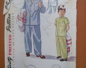 Simplicity 2541 Boy's Pajamas Nightshirt Lounge Sleep Pants Vintage Sewing Pattern 1940s 40s Size 6