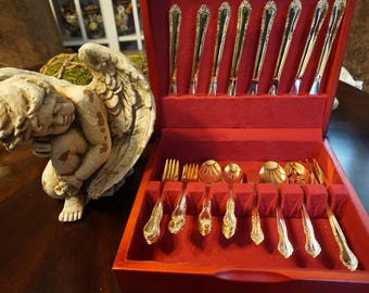 Vintage, 44 Piece Set of Stainless China Electroplate Flatware with Wooden Case
