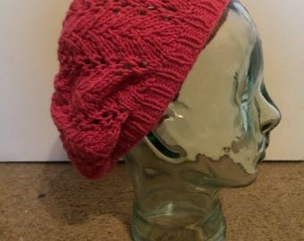 Bright Pink Lace Beret