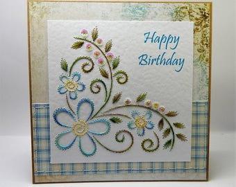 Handmade Stitched Birthday Card