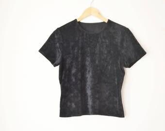 black velvet plush short sleeves t-shirt 90s // M